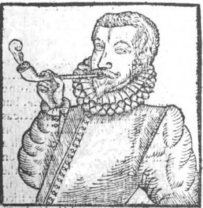 Тәмәке тартучы кешенең иң беренче рәсеме, 1595, Энтони Чат, wikimedia