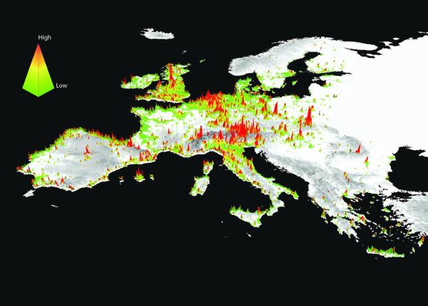 Аурупа берлеге җирлегендә ландшафтларның популярлыгын күрсәтүче 3D-харита © North Carolina State University